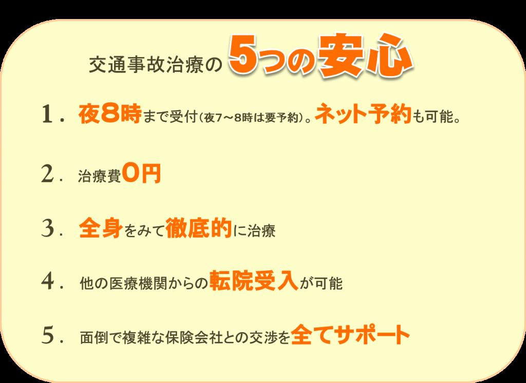 交通事故・むち打ち治療の5つの安心