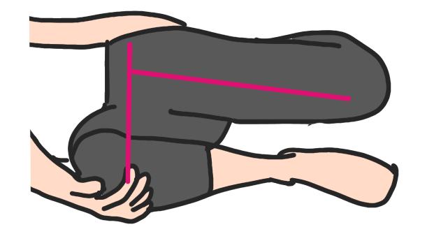 オスグット病に対するストレッチ 横から見た姿勢