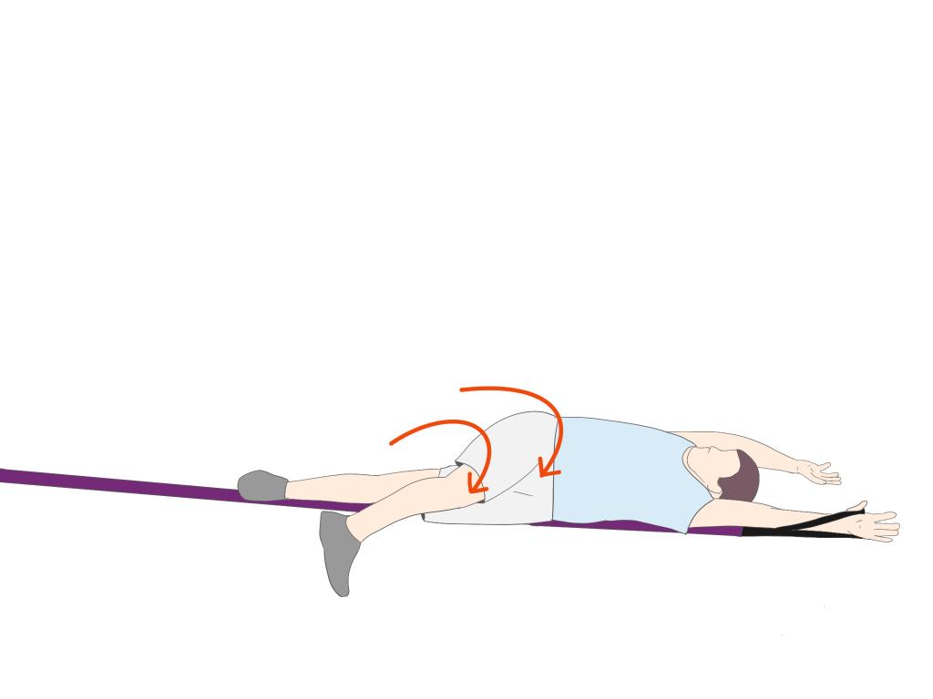 上肢の促通を伴った下肢からのローリング①