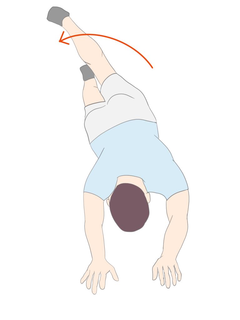 下肢からのローリング 足から回旋を波及させる