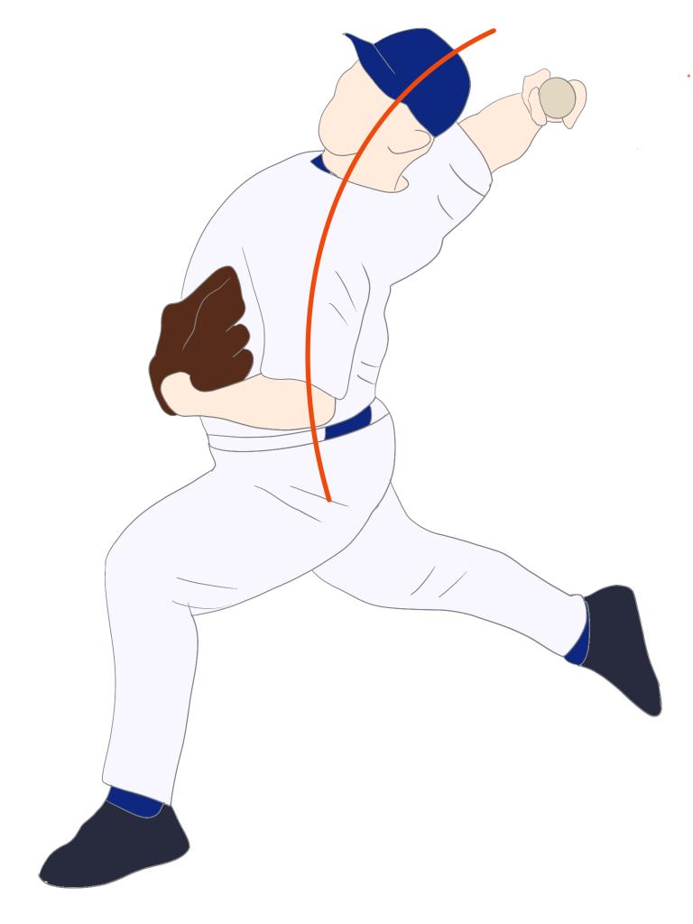 投球フォーム胸椎の伸展