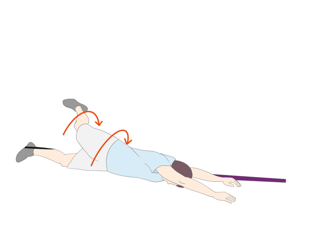 下肢の促通を伴った下肢からのローリング②