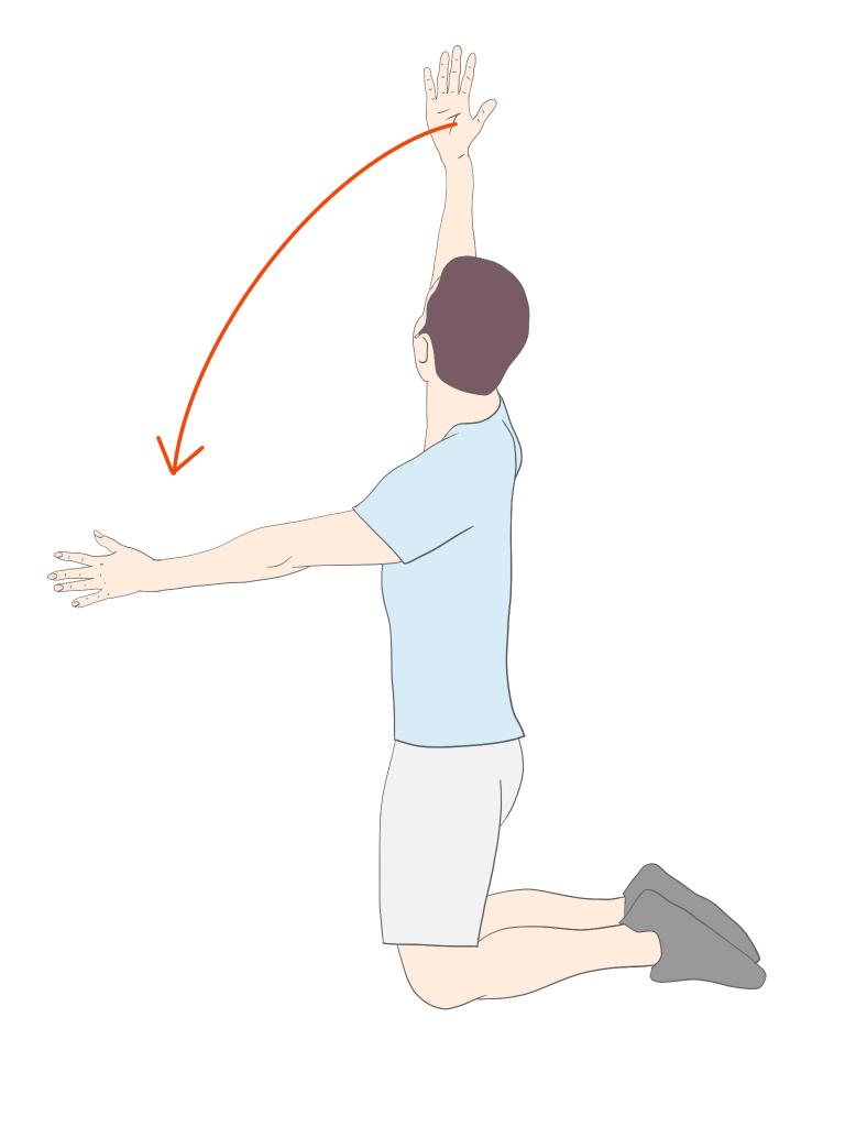 両膝立ちでのトランクローテーションアームスウィープ